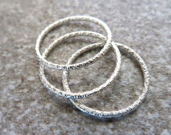 1 Sterling Silver Faceted Stacking Ring, Thin Dainty Textured Band, Glitter Stack Rings, Valentine's  Gift, Handmade Bands, , Spring Fashion