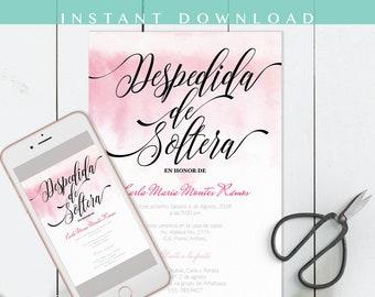 Despedida de soltera Invitacion, despedida invitation, Pink, en español, bachelorette party, invite spanish, DIY, Invitacion para whatsapp