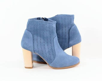 Blue summer boots handmade of natural suede, Blue summer boots, Blue summer shoes, Blue shoes, Blue velour boots, Blue ankle boots