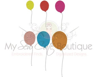 Balloon Machine Embroidery Design - Balloon Embroidery Design - 10 Sizes - Instant Download