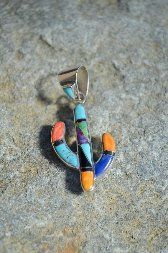 Multi-color, Double Sided, Inlay Sterling Silver Cactus Pendant - #158