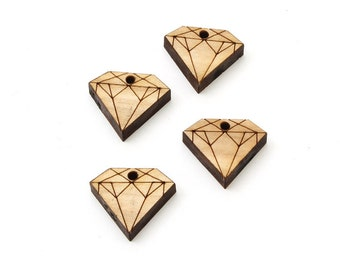 """Set of 6 Diamond Charms (3/4"""") made from Sustainable Wood- Itsies by Timber Green Woods. Made in the USA. Wooden Diamond Beads."""