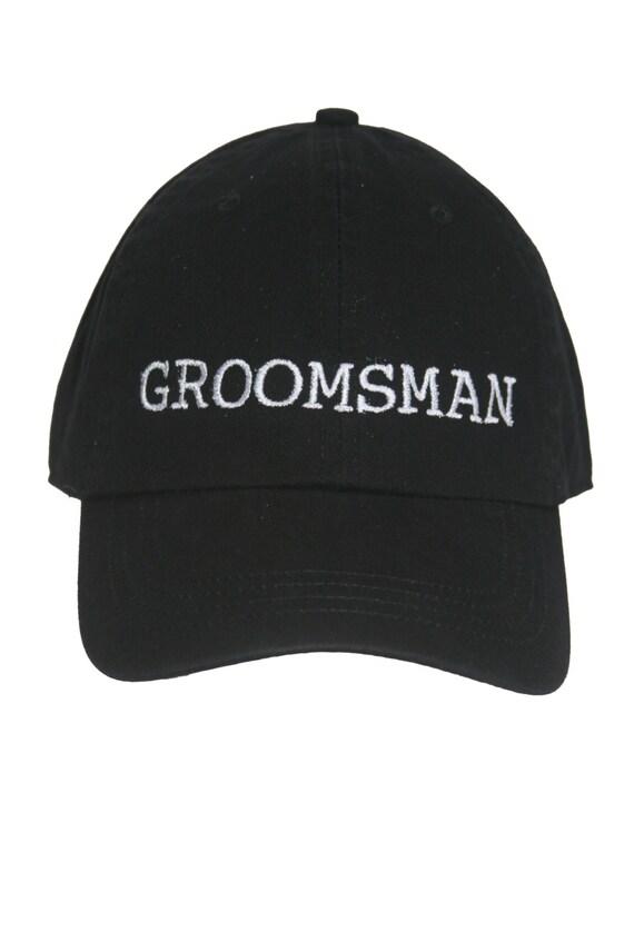 Groomsman - Ball Cap (Black with White Stitching)