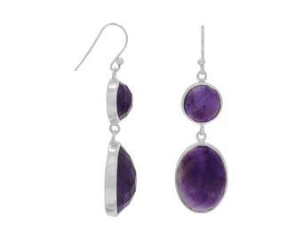Amethyst Drop French Wire Earrings