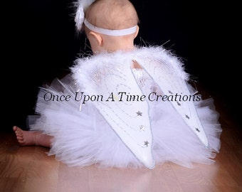 Perfect Angel Tutu Dress and Wings - Halloween Costume - Baby Girl Newborn 3 6 9 12 18 24 Months 2T 3T 4T 5 6 7 8 - Solid White Color Dress