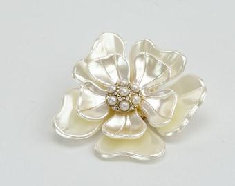Cream White Flower Brooch Pearl Brooch Wedding Cake Bouquet Brooch Flower Brooch Wedding Jewelry DIY Supplies