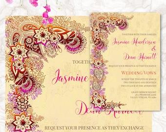 Indian Wedding Invitation - Printable Wedding Cards - Wedding Announcement - Henna Mehndi Invite - Digital File | JASMINE