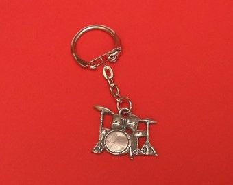 Drum Kit Pewter Motif Key-Ring Musician Teacher Rock Band Music Gift
