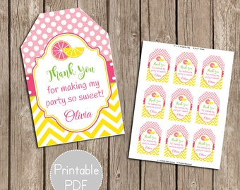 Pink Lemonade Birthday Party Favor Tags- Printable, DIY