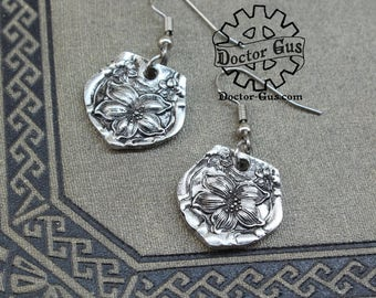 Orange Blossom Spoon Earrings - Handcrafted by Doctor Gus - Beautiful Antique Inspired Flowery Boho Design Replica in Lead Free Pewter