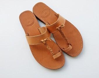 Toe Ring Sandals, Leather Sandals, Flat Sandals, Summer Flats, Ancient Greek Sandals