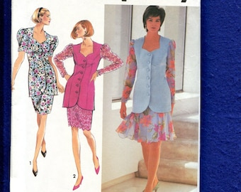 Simplicity 7658 Princess Seam Jacket with PUff Sleeves & Sweetheart Neckline Size 12..14..16 UNCUT