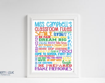 Classroom Rules for High School or Middle School – Personalized Sign – High School Rules – Add Teacher's Name – Teacher Gift – Classroom Art