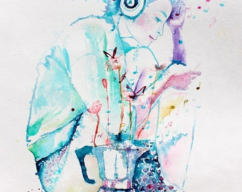Original Watercolor Painting - I Can Feel You . Portrait of young lady.  Listens to music. Coffee maker. Morning coffee