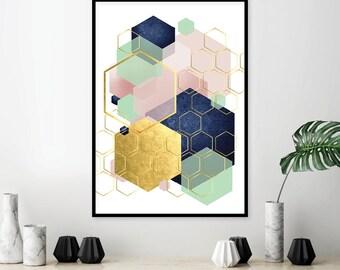 Printable Art, Trending Art, Downloadable Print, Geometric, Abstract, Scandinavian, Print, Poster, Art, Wall Art, Navy Pink Mint, Modern, A3