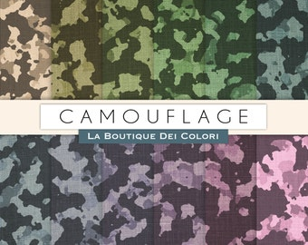 Camouflage digital paper with camouflage patterned camo paper Rainbow Set Commercial Use Direct Download Pink Blue Yellow Green