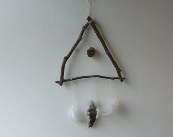 Rustic/Pagan Style, Twigs, Feathers and Pinecone Triangle,Wall Hanging.