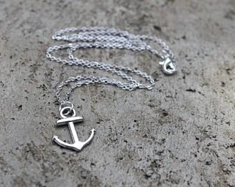 Silver Anchor Necklace // Sea Necklace // Nautical Necklace