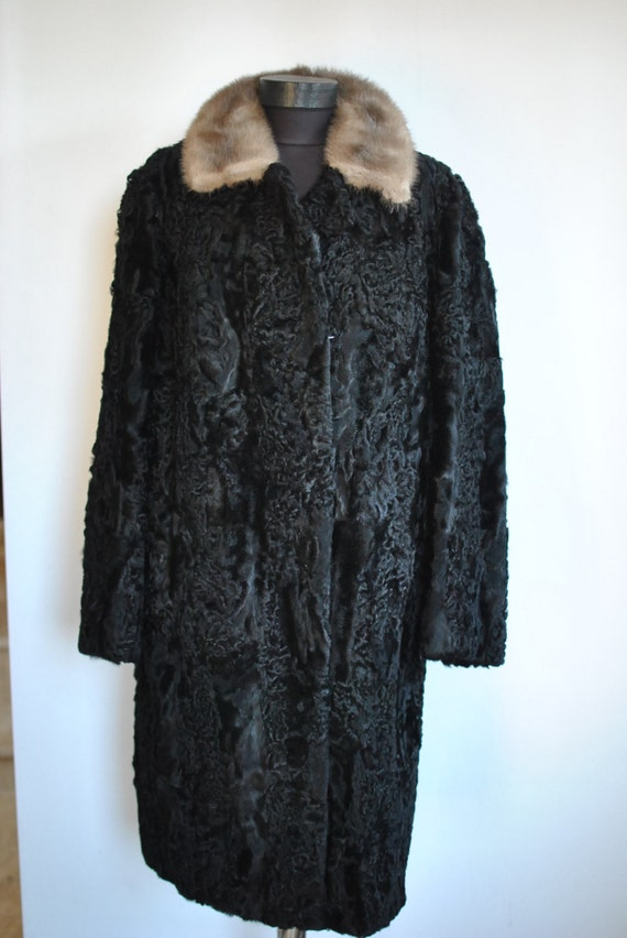 ASTRAKHAN mink with COAT FUR Vintage collar fur 290 SITdwqtw