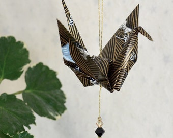 Origami Crane Hanging Ornament - black and gold Japanese paper, very masculine, hand varnished, on gold string with Swarovski crystals