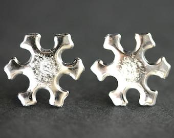Snow Flake Earrings. Snow Earrings. Winter Earrings. Reflective Snowflake Earrings. Silver Stud Earrings. Winter Jewelry. Handmade Jewelry.