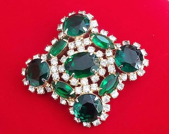 Green Rhinestone Brooch, Vintage Green and Clear Rhinestone Pin