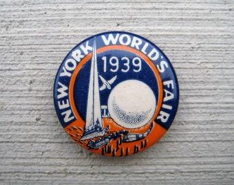 Original 1939 New York World's Fair Pinback Button