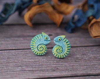Little Chameleon Stud Earrings Colorful Lizard Chameleons Earrings 6 matte