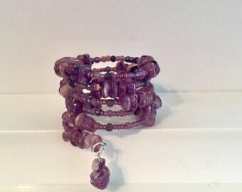 Purple Passion.  A Purple Wrap Around Beaded Bracelet