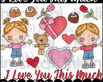 I Love You This Much Clipart Collection- Immediate Download