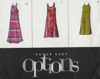 Vogue 2524 Dress empire waist with halter scoop round neckline and sleeve options in four lengths Size 12-14-16 (uncut)