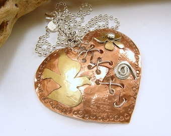 Mixed Metal Broken Mended Heart Pendant Necklace, copper, sterling and red brass broken mended heart pendant