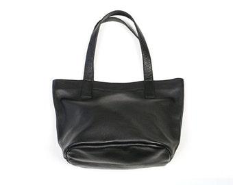 MILA Small Black Leather Purse. Black Leather Bag. Black Purse. Small Tote Handbag