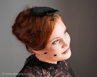 Fascinator Veiling Black, Vintage Stil Headdress, Prom Hairstyle, Black Veil Hairclip, Burlesque Hairpiece, Hair Accessories