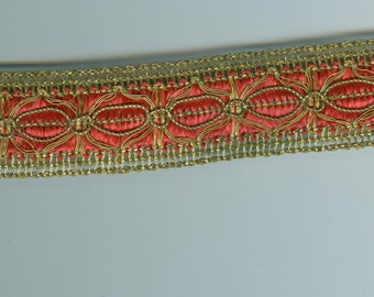 5 Feet Red/Metallic Gold Trim Woven Sewing Crafting Card Making