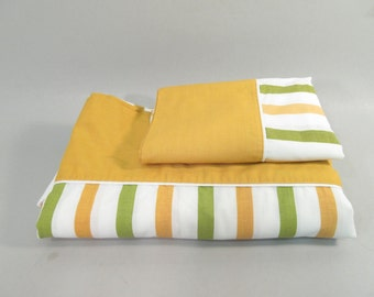 Vintage twin sheets, 1960s gold green stripe, striped sheets, mid century modern, twin sheet