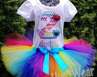 Rainbow Chevron S Street  Elmo Abby Cookie Monster Big Bird Birthday Shirt + Tutu outfit (Any age or character)