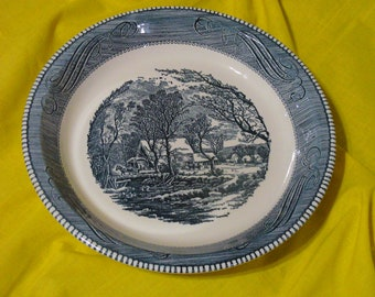 """Blue Royal China, Currier and Ives Old Grist Mill Pie Plate // 10"""" Currier and Ives Baking Dish"""