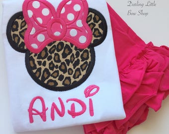 Miss Mouse shirt, tank or bodysuit for girls -- leopard print mouse ears with hot pink polka dot bow -- includes name