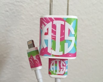 Lilly Pulitzer Inspired Iphone Charger Decal Block & Cord Wraps Monogram Phone Vinyl Decal Sticker