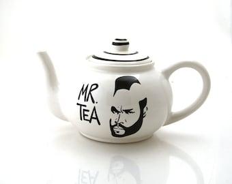 Mr. T Teapot, Mr. Tea pot, large ceramic teapot, home and living, teapots, tea sets, funny wedding gift, holds 4 cups of tea, white