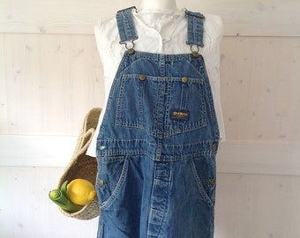 80s Oshkosh Overalls Up to Sz. 30, Vintage Bib Denim Grunge Pants Wide Leg Baggy Blue Dungarees Hipster Carpenter, Retro Bib Salopette Small