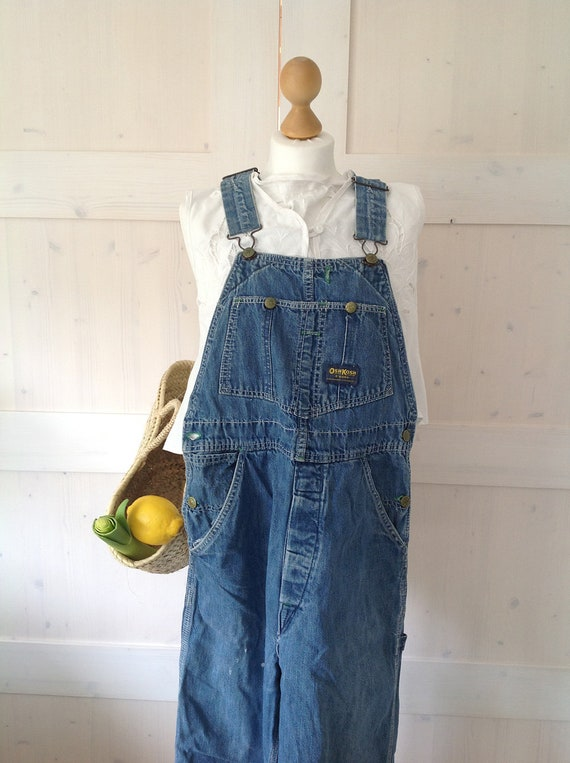 Osh Kosh Railroad Stripe Overalls / Large / Xl / Distressed // Paint splatter/ Blue and white stripes // 70's / 80's / Vintage