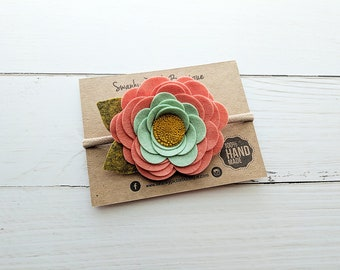 Baby Headband,Coral Mint Yellow,Felt Flower Headband,Nylon Headband,Felt Rose Headband,Toddler Headband,Newborn,Spring,Easter,Photo Prop