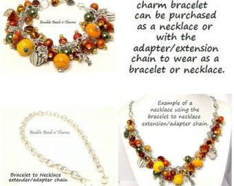 Fall Charm Necklace, Fall Charm Bracelet,  Fall Jewelry, Autumn Beaded Charm Bracelet Jewelry, Fall Autumn Necklace
