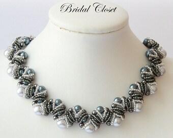 Wedding Bridal Pearl Necklace - Gray Pearl Necklace, Double Sided 2 in 1, Bridal Necklace Pearl, Bridesmaids Necklace, Bridal Accessories