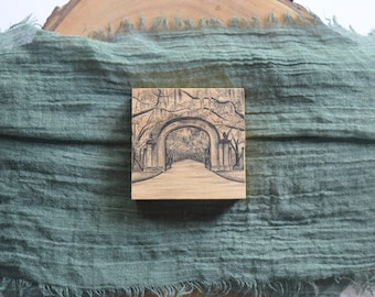 Savannah Wormsloe Plantation Gate Pen and Ink Drawing Print on 3x3 Wood Panel or Christmas Ornament
