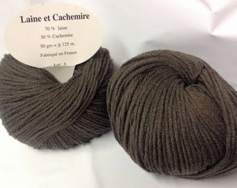 5 balls cashmere and wool /couleur Otter / made in FRANCE