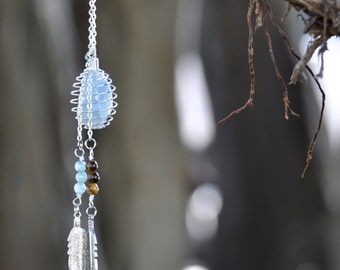 Crystal Cage Necklace with Feathers, Tiger Eye & Blue Agate on Silver Chain - Crystals Chakra Healing Gemstone Necklace - Bohemian