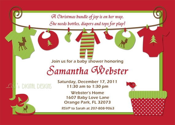Items Similar To Christmas Baby Shower Invitations Baby Clothes On
